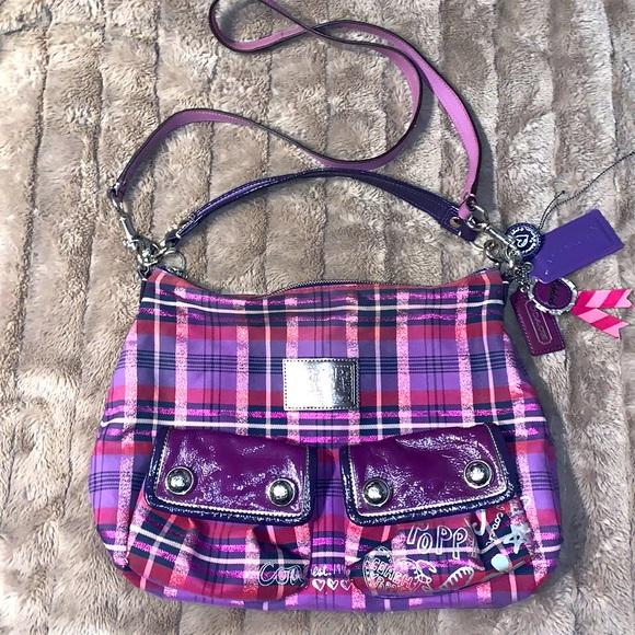 Coach Poppy Purple Tartan Shoulder Bag